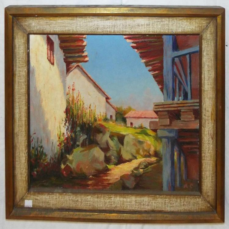 Monogrammed Oil On Board, Mexico Country Side