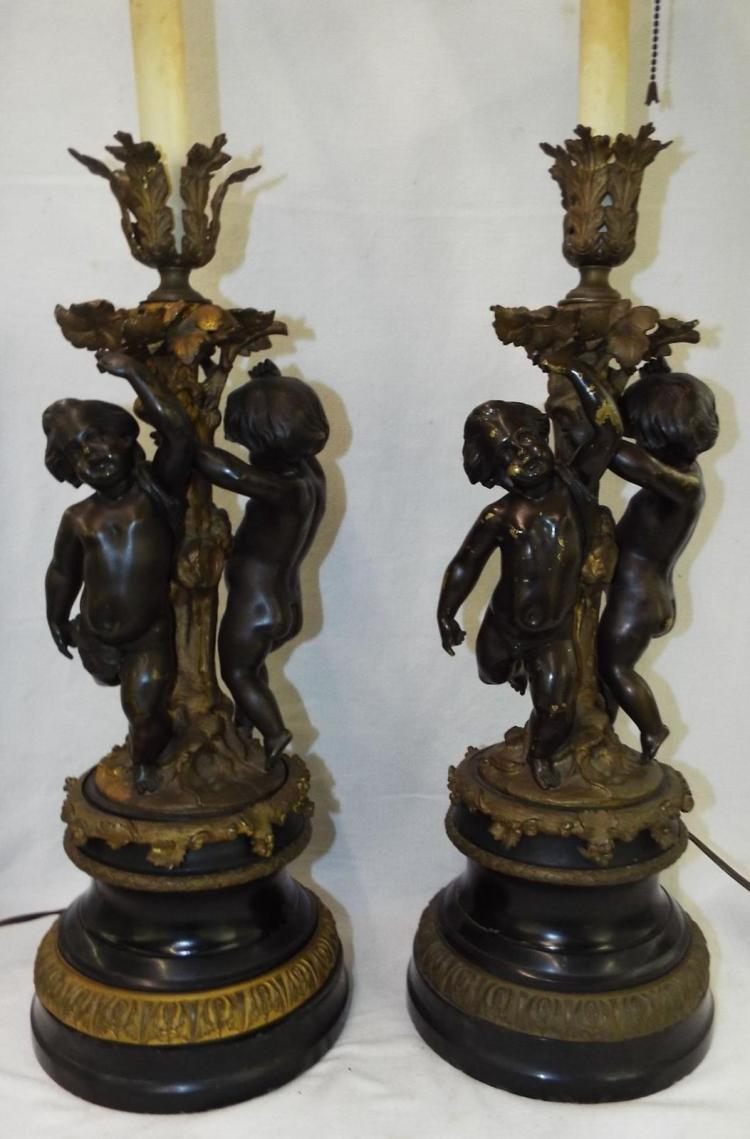 Pair Of Bronze Figural Lamps