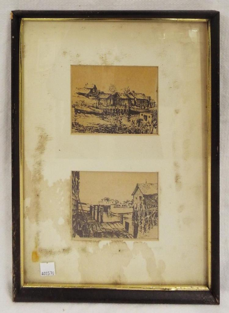 Pair Of Engravings In One Frame
