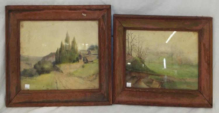 Pair Of H. W. Lewis Watercolor Landscapes