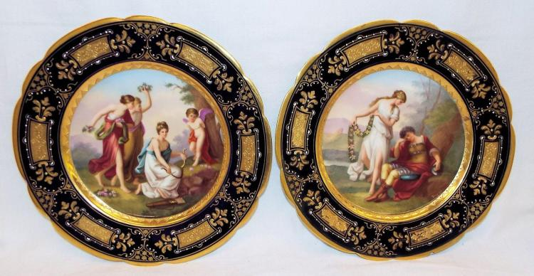 Pair Of Beehive Hand Painted Porcelain Plates