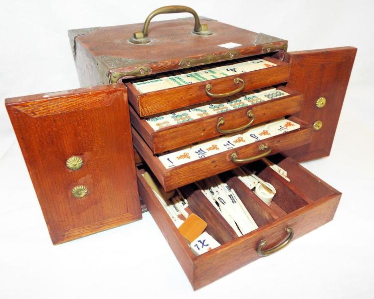 Oriental Game Case With Hand Decorated Game Pieces