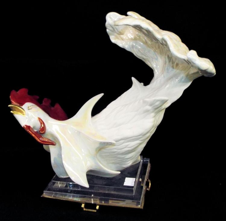 Galos Design Spain Porcelain Rooster Sculpture