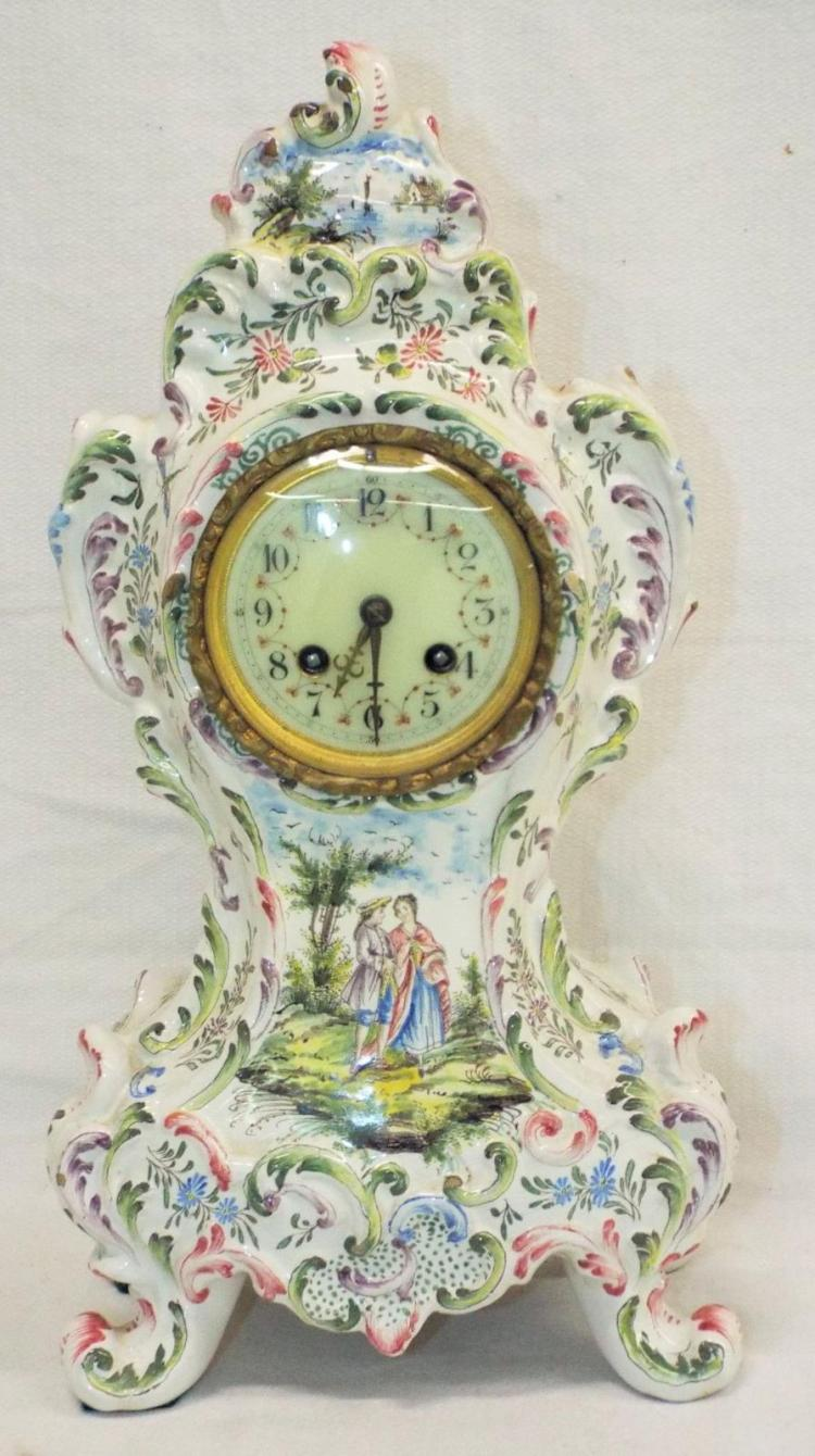 Mantle Clock In Hand Decorated Soft-paste Case