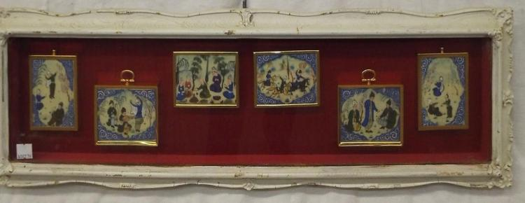 Six Orieintal Miniature Paintings In Frame