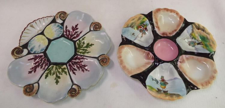Two Hand Painted Oyster Plates