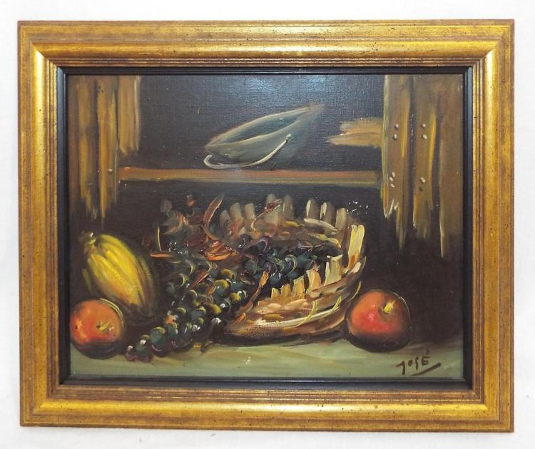 Oil On Canvas Still Life Signed Jose