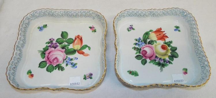 Pair Of Hand Painted Porcelain Floral Trays