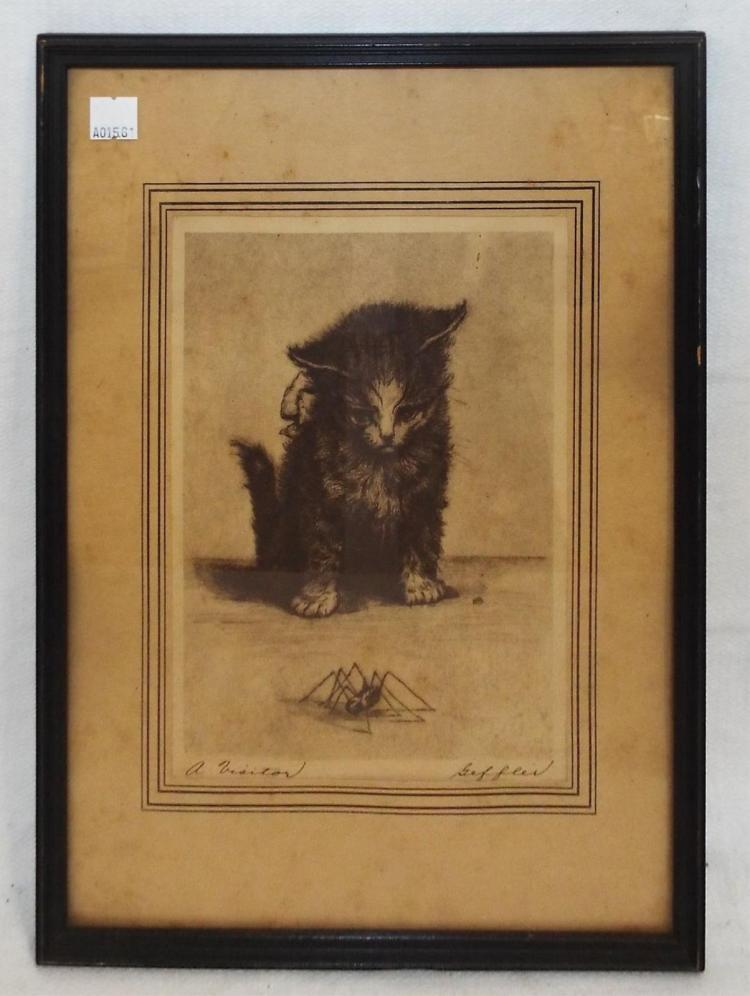 Geffler Engraving Of Cat, A Visitor