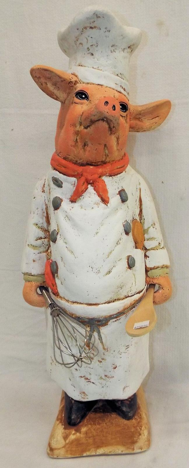 Lena White Hand Decorated Sculpture Of Chef Pig