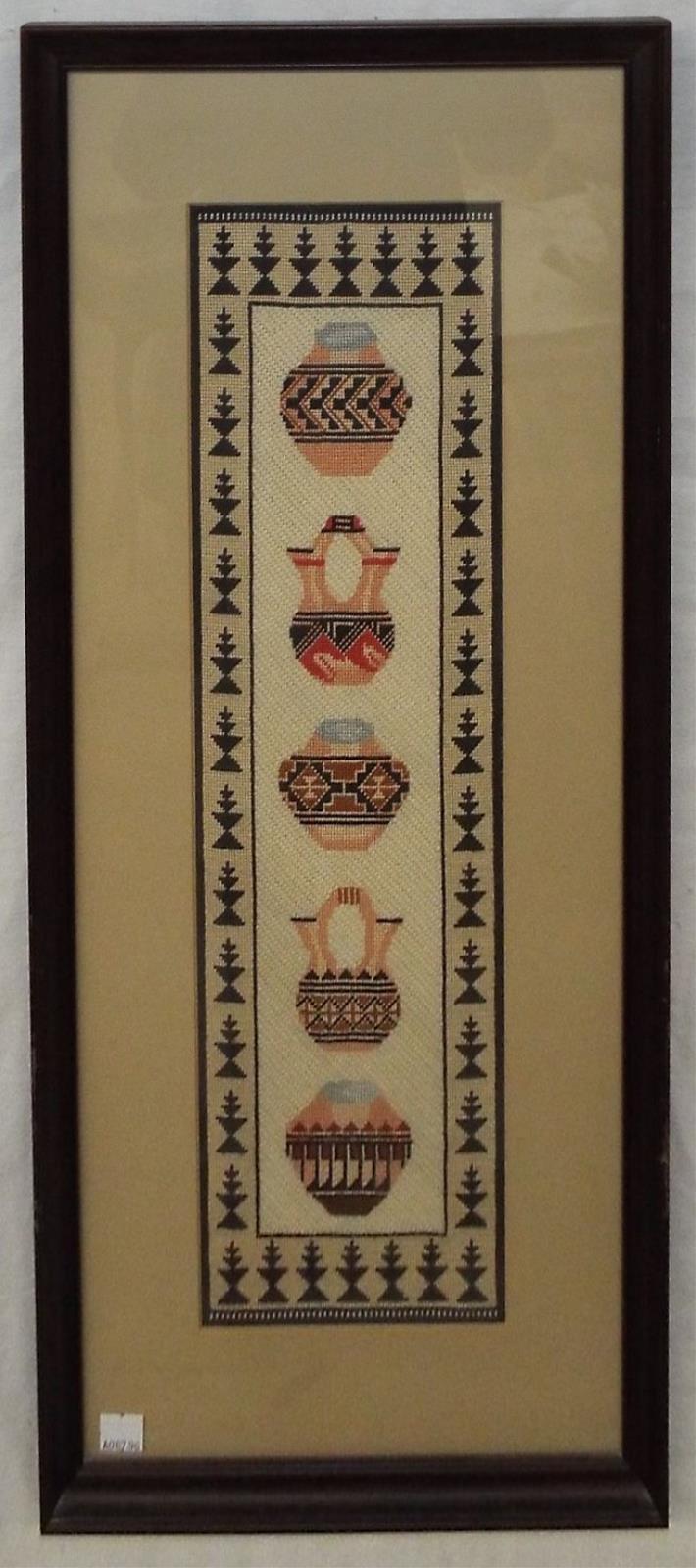 Framed Needlework Of Southwest Pottery Jars