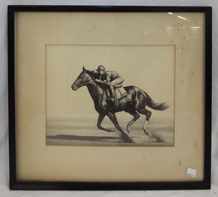 Horse & Jockey Engraving