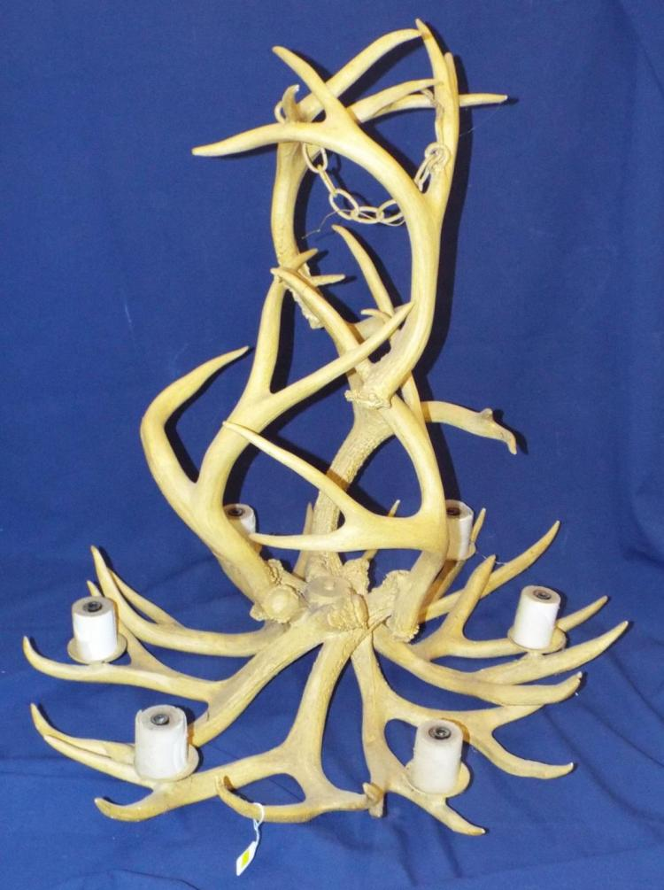 Large Horn Six Light Chandelier