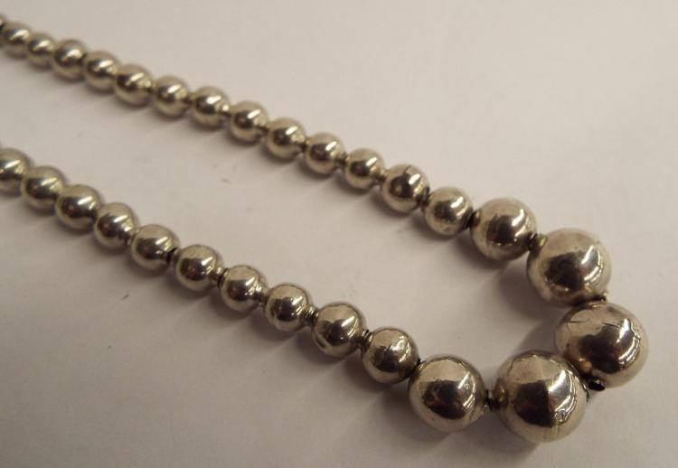 Mexico Sterling Silver Beaded Necklace