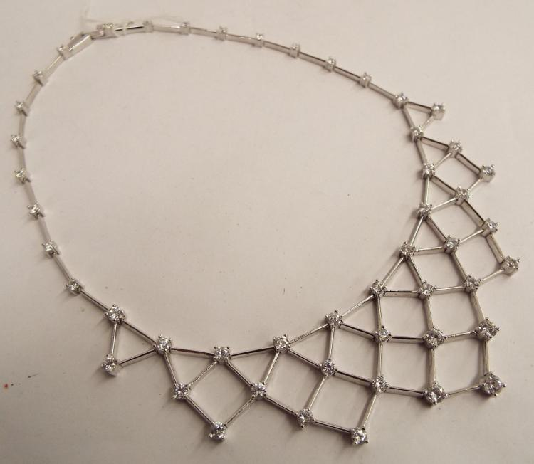 Sterling Silver Bib Necklace With Clear Stones