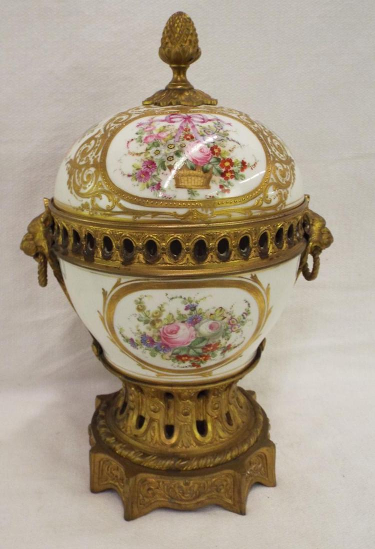 Sevres France Hand Painted Porcelain & Bronze Urn