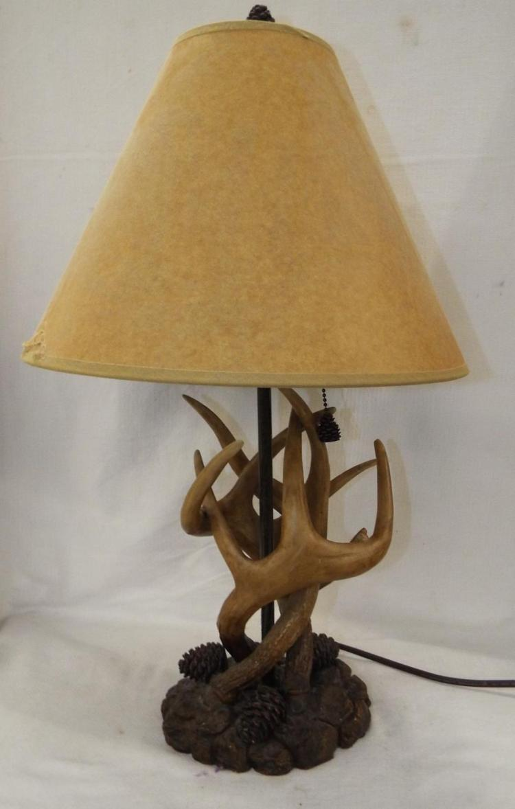 Horn And Pine Cone Table Lamp