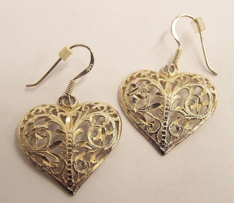 Pair Of Sterling Silver Heart Earrings