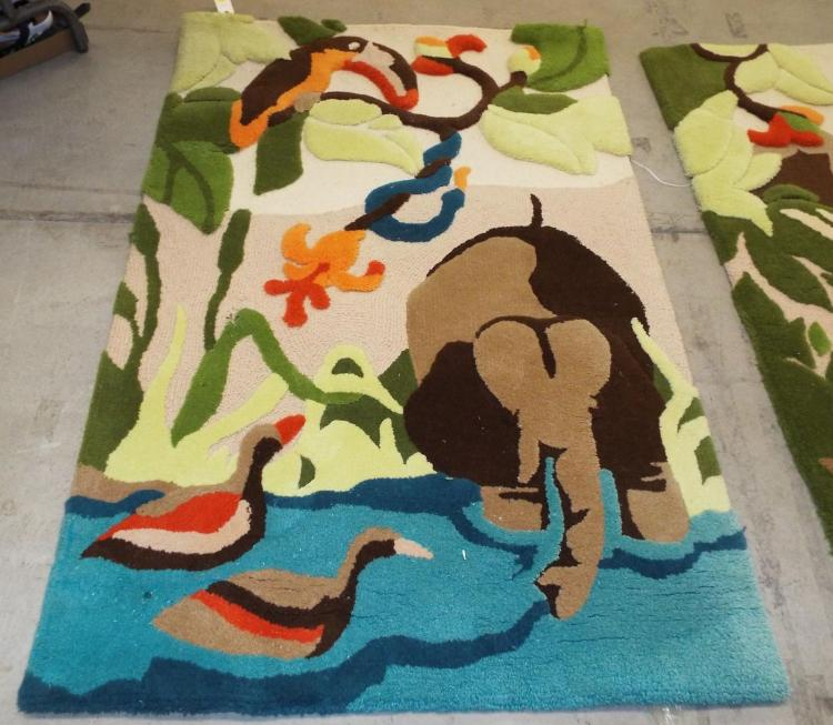 Scenic Area Rug With Animals Incl Elephant