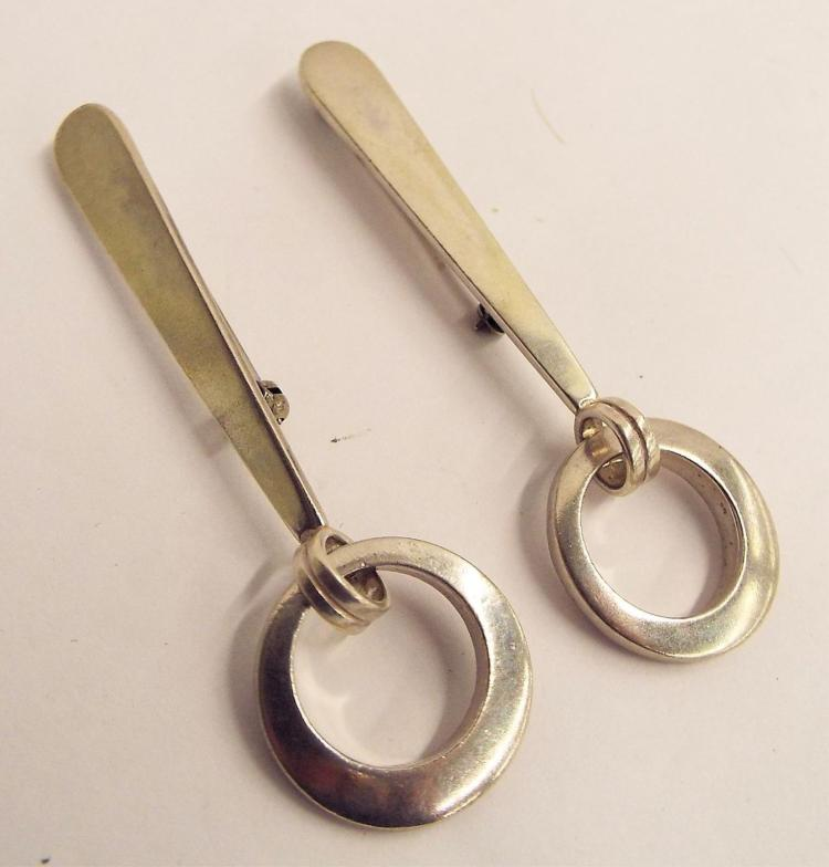 Pair Of Navarro Sterling Silver Pins
