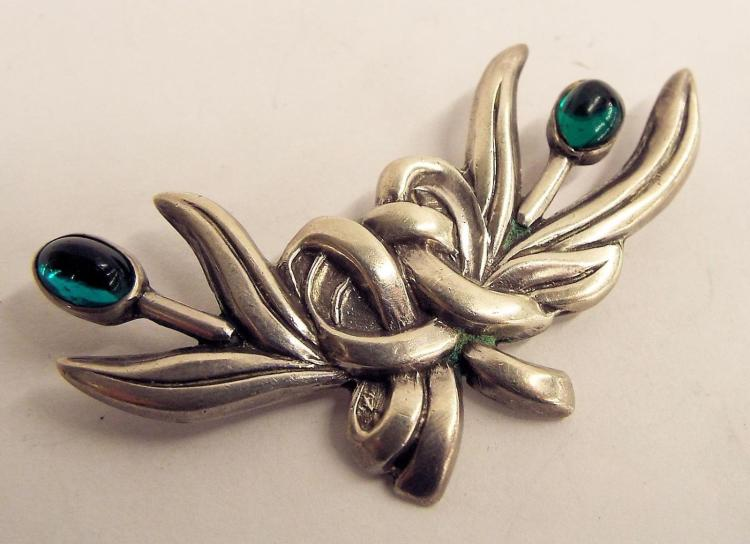 Mexico Sterling Silver Pin With Green Stones