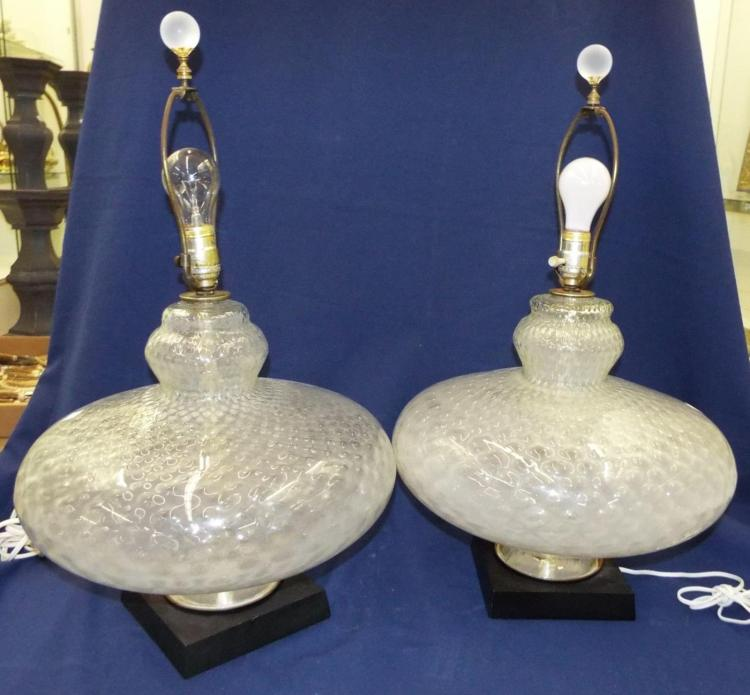 Pair Of Large Art Glass Parlor Lamps