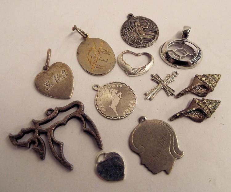 Group Of 12 Sterling Silver Pendants