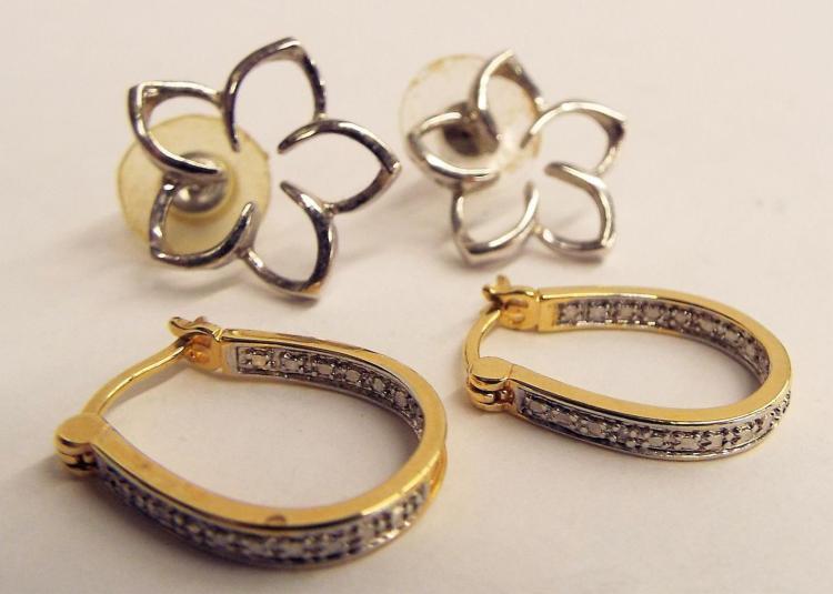 Two Pair Of Sterling Silver Earrings