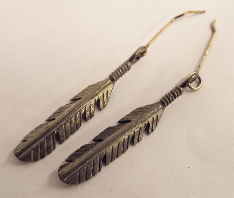 Pair Of Sterling Silver Feather Earrings
