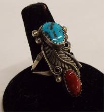 Sterling Silver Ring With Turquoise And Coral