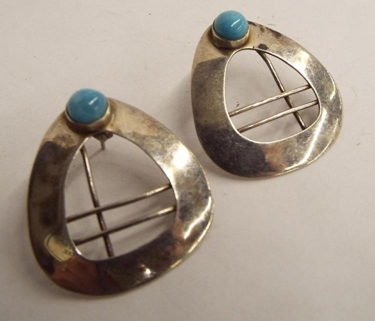 Pair Of Sterling Silver Earrings With Blue Stones