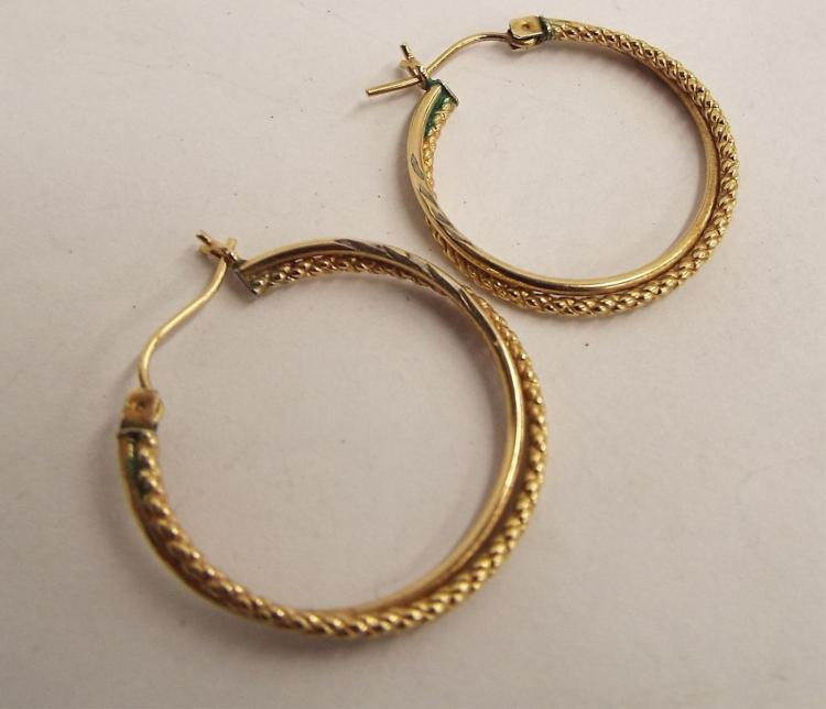 10k Plated And Sterling Silver Hoop Earrings