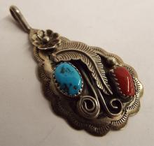 Sterling Silver, Turquoise & Coral Pendant