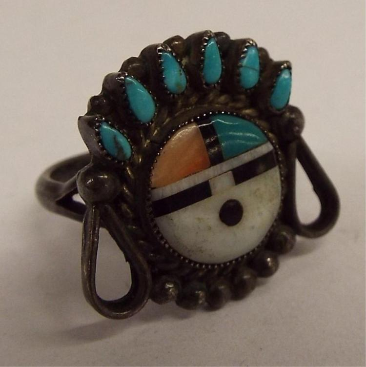 Sterling Silver, Turquoise & Inlaid Stone Ring