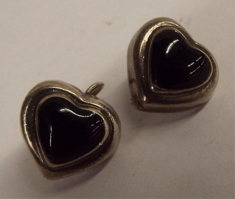 Pair Of Sterling Silver And Onyx Hear Earrings