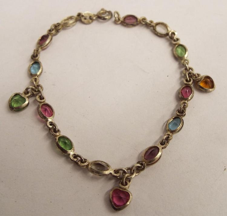 Sterling Silver Bracelet With Colored Stones