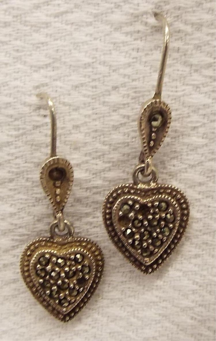 Pair Of Sterling Silver & Marcasite Heart Earrings