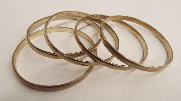 5 Taxco Sterling Silver Bangle Bracelets