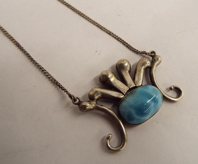 Sterling Silver Necklace With Blue Stone Pendant