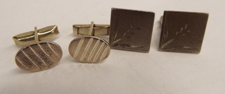 Two Pair Of Sterling Silver Cuff Links
