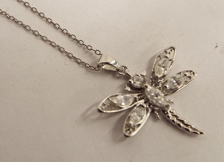 Sterling Silver Necklace With Dragonfly Pendant