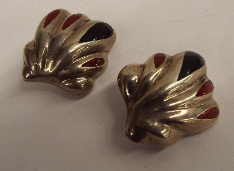 Pair Of Mexico Sterling Silver Clip Earrings