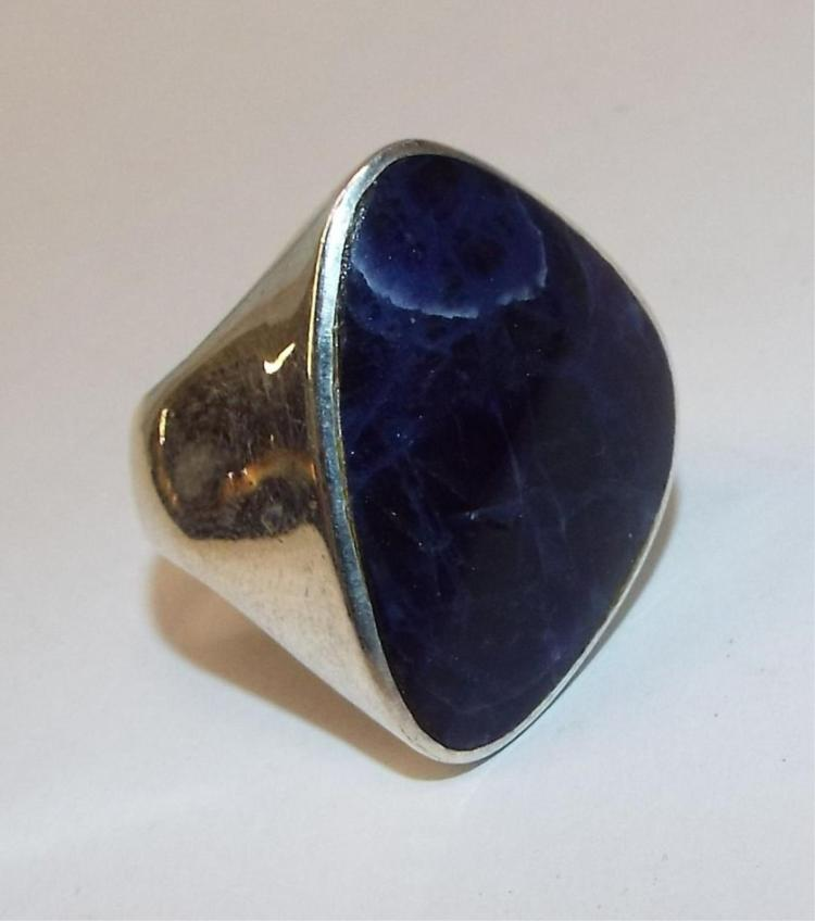 sterling silver ring with large blue