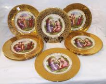Set 10 Edgewood 22 Karat Gold Decorated Plates