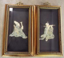 Pair Of Oriental Hand Decorated Figural Plaques