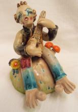 Italy Glazed Redware Clown Figure