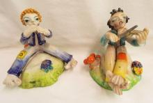 Two Italy Glazed Redware Clown Figures