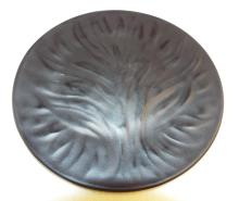 Lalique France Black Glass Plate With Tree Design