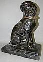 Bronze dog sculpture with hat & scarf