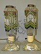 Pair of glass bead decorated lamps